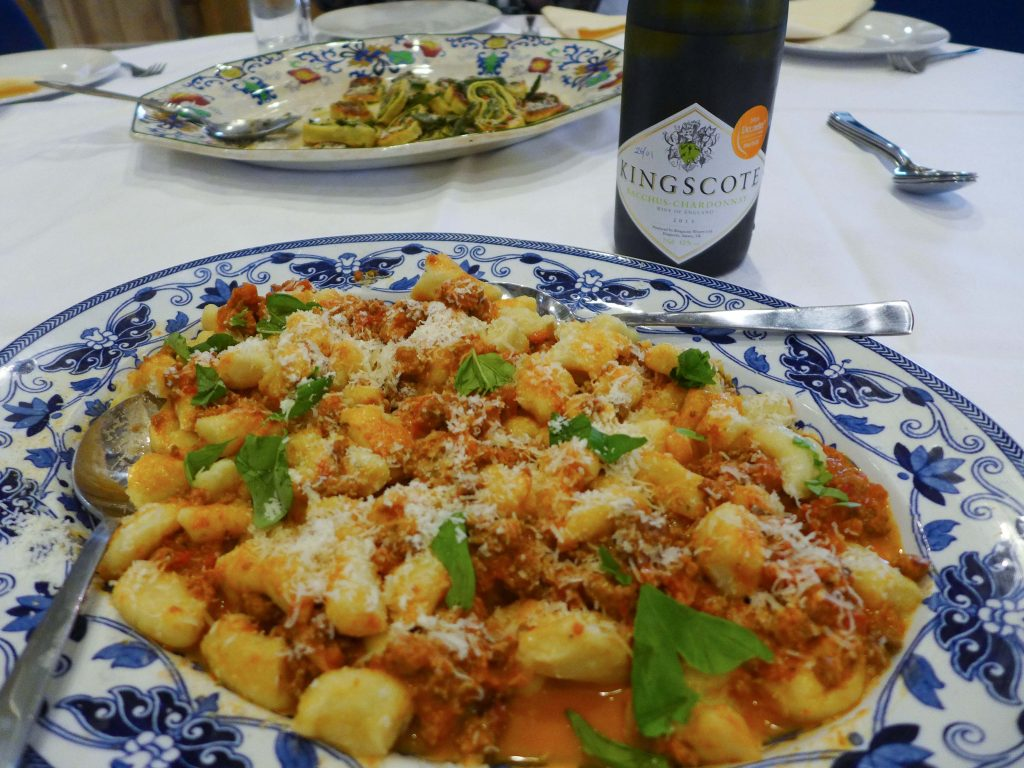 Final result - gnocchi with ragu & Kingscote wine