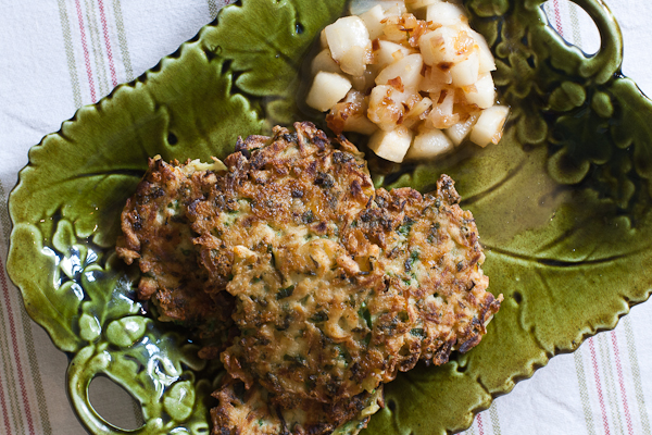 Celeriac Fritters with Mead Infused Pears