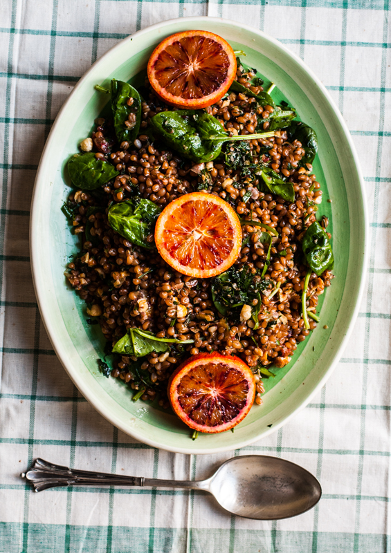 Wheat Berry, Hazelnut and Blood Orange Salad