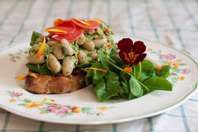 Crab & Cannellini Bean Crostini with Nasturtium and Calendula