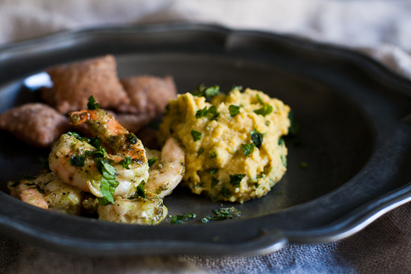 Apician Prawns with Chickpea & Saffron Mash and Artolagana