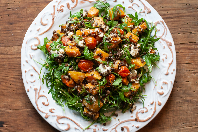 Roasted Squash Salad with Lentils & Feta